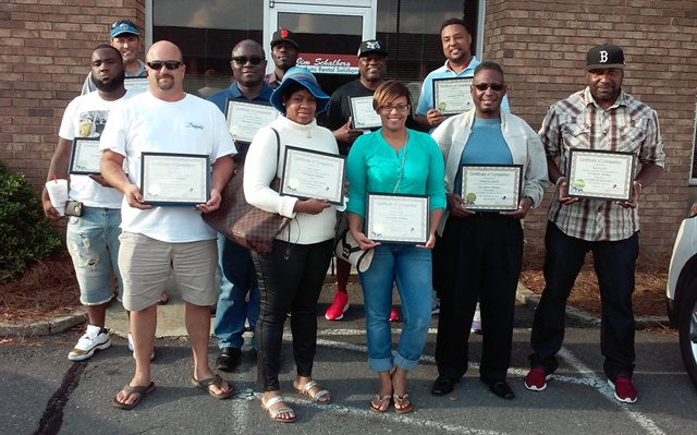 The 11 graduates of Jim Schalberg Auto Rental Solutions' recent new operators class (l to r) back row: Jason D Dearman, Clement Ehimoro, Marvin Williams and Lawrence Tucker; middle row: Carl Castin, Dr. Ade Ehinmoro, Rev. Sumter Franklin, Brad Franklin; front row: Tracy Moore, Angie Forgue, Onessa Tucker