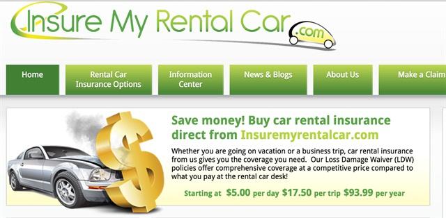 InsureMyRentalCar.com homepage