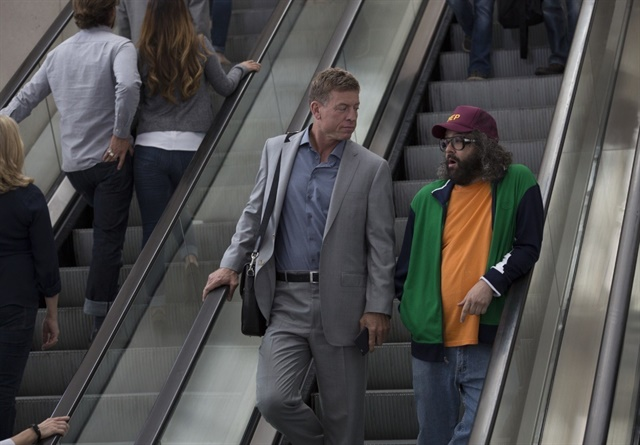 Troy Aikman (left) and actor Judah Friedlander star in Silvercar's first television commercial. Photo courtesy of Silvercar.