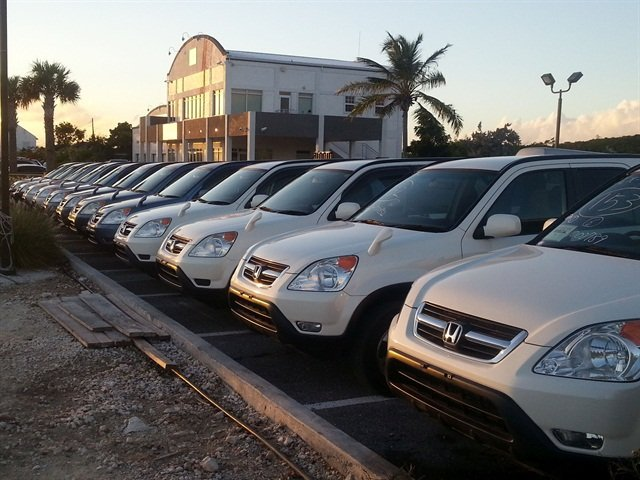 Vehicles in Grace Bay's rental fleet.
