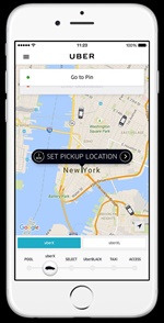 Uber is a ride-hailing service thatuses a mobile platform to connects riders with drivers. Photo courtesy of Uber.