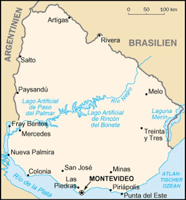 Map of Uruguay. Photo via Wikimedia.