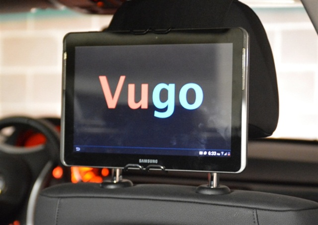 Vugo provides targeted advertisements and video content in rideshare vehicles. Photo courtesy of Vugo.