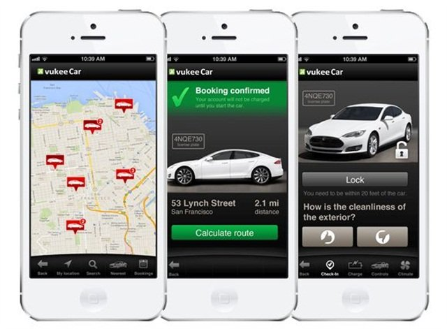 vukee Car's mobile app allows users to search for a Tesla vehicle nearby, book it and unlock the vehicle all from their smartphones. Photo credit: vukee Car