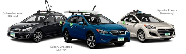 Zipcar will provide 150 vehicles with Yakima mounts for bikes, skis, or surfboards/paddleboards. Photo via Zipcar website.