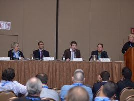 With a panel of major affiliate car rental operators, Sharon Faulkner serves as the moderator in...