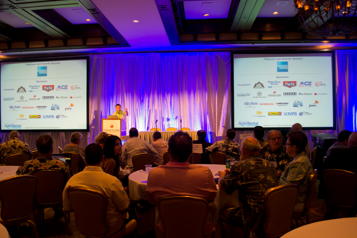 Chris Brown, executive editor of Auto Rental News, welcomes the more than 100 people to the...