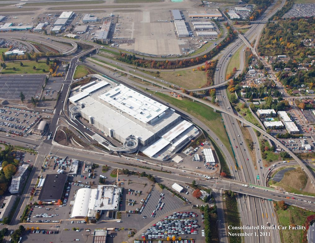 An aerial view of the consolidated rental car facility.