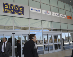 This section of the customer service area features several independent car rental brands...