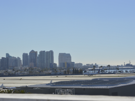 The view of downtown San Diego and the bay from the fourth level of the rental center.