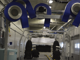 The facility's 15 car wash bays are available to all the car rental brands.