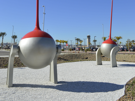Created by artist Christian Moeller, MetroGnomes stand 54 feet tall and are made of steel,...