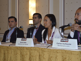 The panel (Juan Carlos Morga of Mex Rent-A-Car; Alejandro Muniz of Economy Rent A Car; Karla...