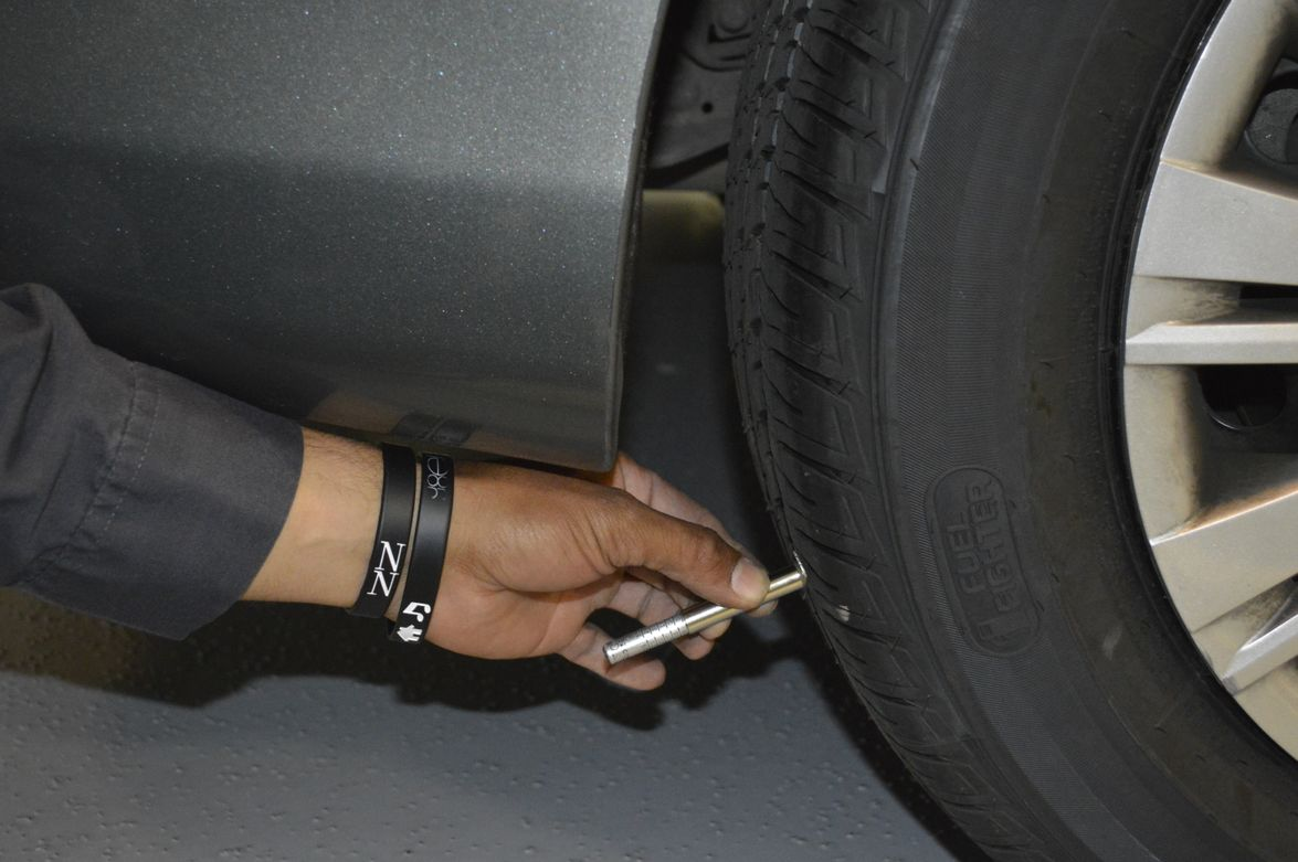 """Tires must have a minimum tread depth of 5/32"""" across all treads."""