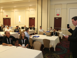 David Purinton hosted the first timers' networking orientation. Hepresented highlights of the...