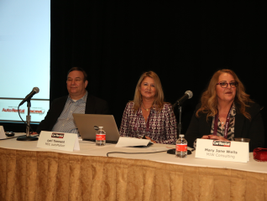 Mary Jane Wells (right) moderated a panel that analyzed facets of the rental transaction and...