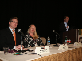 During a concurrent session, Christy Morris of Rate Pros (center) moderated a panel on rate...