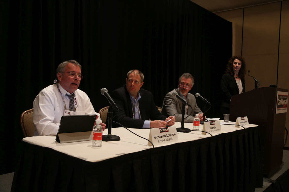 Leslie Pujo (far right) moderated the seminar that featured a panel of experts sharing best...