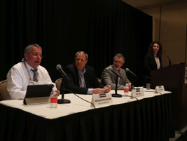 Leslie Pujo (far right) moderated the seminarthat featured a panel of experts sharing best...