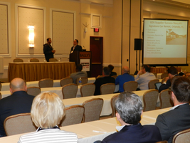Nick DiPrima of TSD (right) presented a seminar on how to take advantage of the new global...