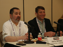 """Harry Willner and Ben Rosenbloom sat on a panel in the """"Why Lease? (And How)"""" seminar."""