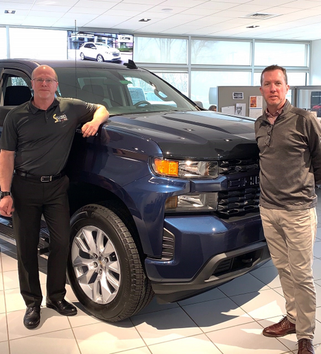 Kevin Sullivan (right) stands with Warren Ford Jr., fleet, government and municipal sales manager. Sullivan is co-owner of O'Neill's Chevrolet Buick, Sullivan's Northwest Hills Chrysler Jeep Dodge Ram, Sullivan Honda, and Northwest Hills Chevrolet, Buick, GMC, Cadillac. The dealerships serve Central Connecticut. - Photo courtesy Kevin Sullivan.
