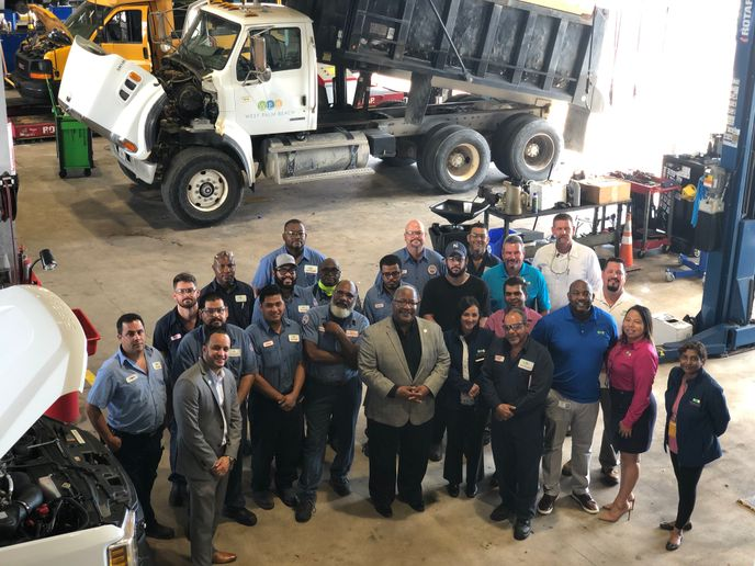 The Support Services Department for the City of West Palm Beach gathers in a less socially distant time. - Photo courtesy City of West Palm Beach.