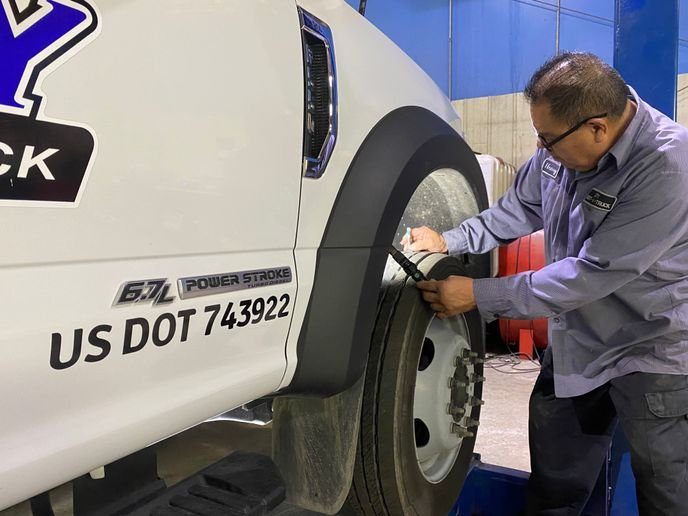When doing DOT inspections, make sureexaminetread depthwithan approved tread wear gauge. If you do not have one,lookat the wear bars to make sure they are not protruding beyond the tread blocks. If so, it's time for replacement. - Photo viaCity Rent A Truck.
