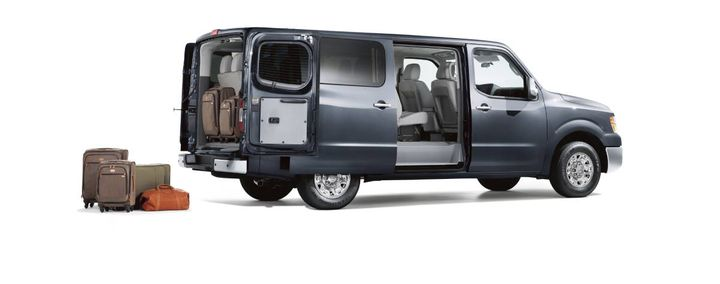 With seating for either 12 or 15 passengers, full size passenger vans are quite practical for transporting large groups of people. The rear seat is removable for more cargo and less people. - Photo:Nissan