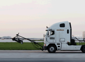 Hi-Lite Airfield Services LLC, an airport pavement markings, runway rubber removal, and airfield maintenance contractor, had a specific compliance need from its ELD system — to understand trucks' runway work for the purposes of calculating hours of service. (Photo courtesy of HiLite)
