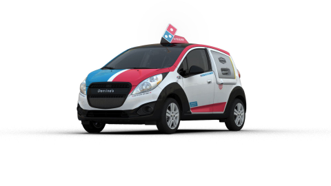 Domino's DXP vehicle is built on the Chevrolet Spark platform and features a warming oven,...