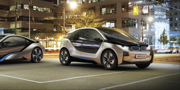 BMW's i-Series sub-brand ushers in a new era of urban mobility. The all-electric i3 (right)...