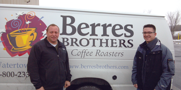 From left to right, Peter Berres, owner of Berres Brothers Coffee Roasters, and Josh Budworth...