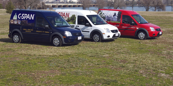C-SPAN turns Ford Transit Connects into Local Content Vehicles (LCVs), the wheels driving a...