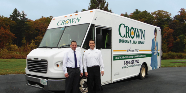 Dave Hardy, Crown's fleet supervisor, (left) stands with Greg Franklin, a service manager, in...