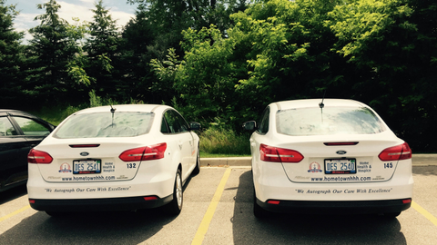 Hometown Home Care & Hospice currently leases 26 Ford Focuses. The branding on the vehicles...