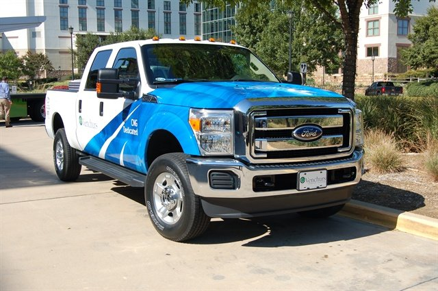 Green Fleet attendees had the opportunity to test drive more than 35 vehicles, including this CNG-converted Ford F-250 from Venchurs Vehicle Systems.