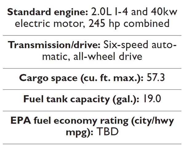 Specs for the 2013-MY Audi Q5 Hybrid.