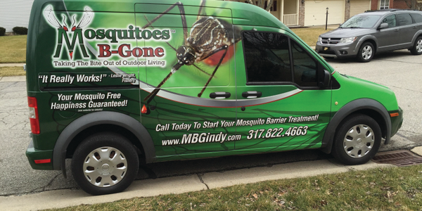 Mosquitoes B-Gone's Ford Transit Connect went from solid white to a bright and bold wrap...