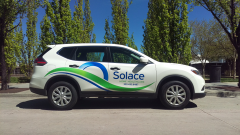 Solace Home Healthcare's new Nissan Rogues feature the companylogo. Photo courtesy of Solace...