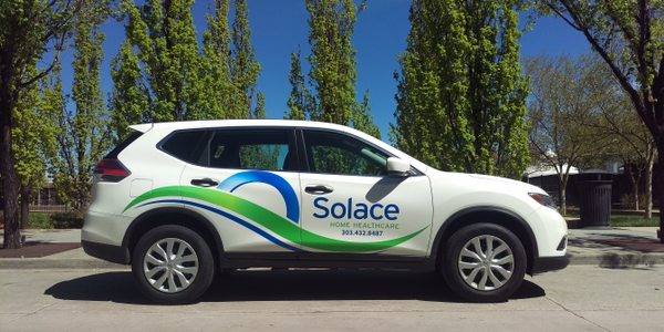 Solace Home Healthcare's new Nissan Rogues feature the company logo. Photo courtesy of Solace...