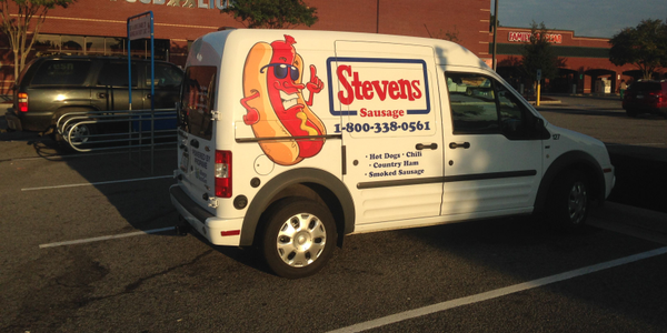 One of Stevens Sausage's propane-powered Ford Transit Connect vans.The vans can get over 21...