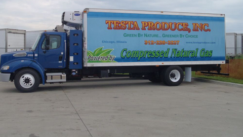 Testa Produce has 24 straight trucks in its delivery fleet running on CNG. Photo courtesy of...