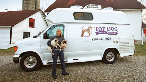 Maureen Hill uses a customized F-350 van to operate her mobile grooming business. Photo courtesy...