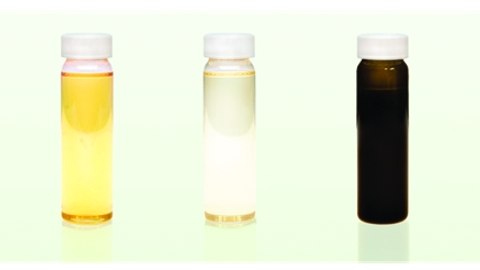 Photo courtesy of Safety-Kleen.From left to right are comparisons of crude oil, conventional...