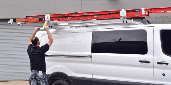 Adrian Steel's LoadsRite Drop-Down Ladder Rack for the low-roof Ford Transit cargo van. Photo...