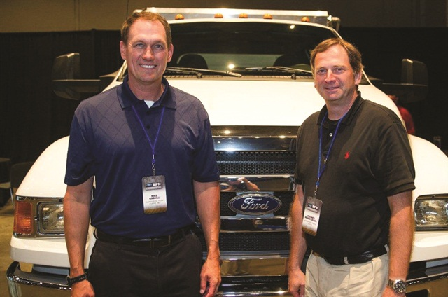 Mike Gaskill (left) and Steve Hendrickson from Midway Ford Truck Center of Kansas City take in the reception.