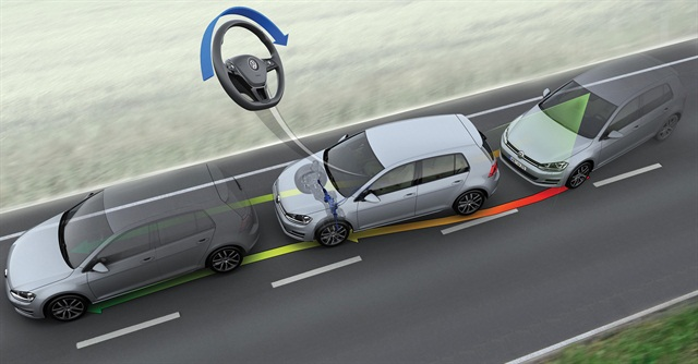 "Volkswagen is one of several OEMs that offers a lane-keeping system designed to alert drivers to unintended departures and autonomously steer the vehicle back to safety. VW's ""Driver Assistance Package"" also includes forward-collision avoidance, blind-spot monitoring, rear-cross-traffic alerts and automatic high beams.Photo courtesy of Volkswagen of America Inc."