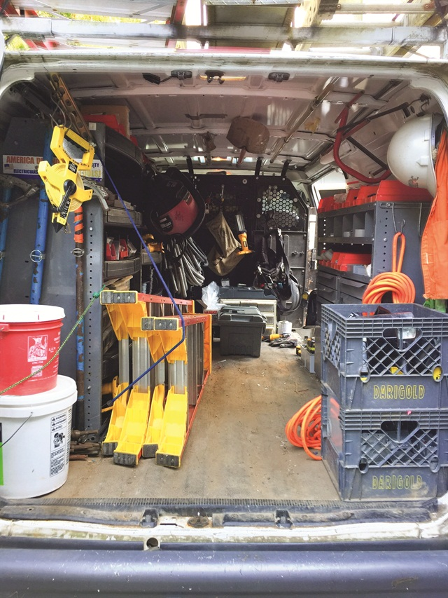Sherman organized his van with an emphasis on accessibility, keeping the floor relatively clear and making sure frequently used tools remain within easy reach.