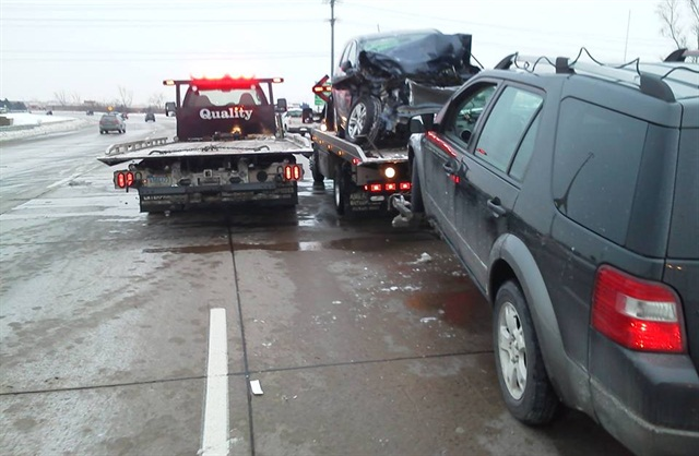Another example of a motor accident needing tow trucks.
